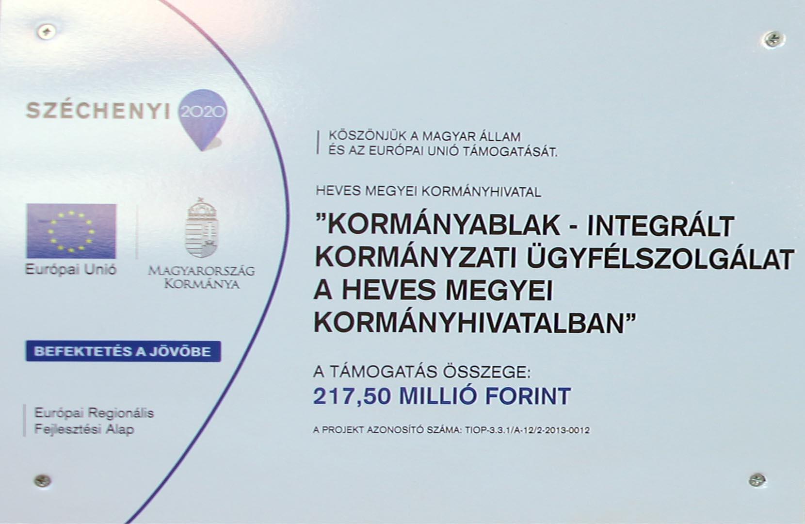 Kormányablak – Integrált kormányzati Ügyfélszolgálat a Heves  Megyei Kormányhivatalba