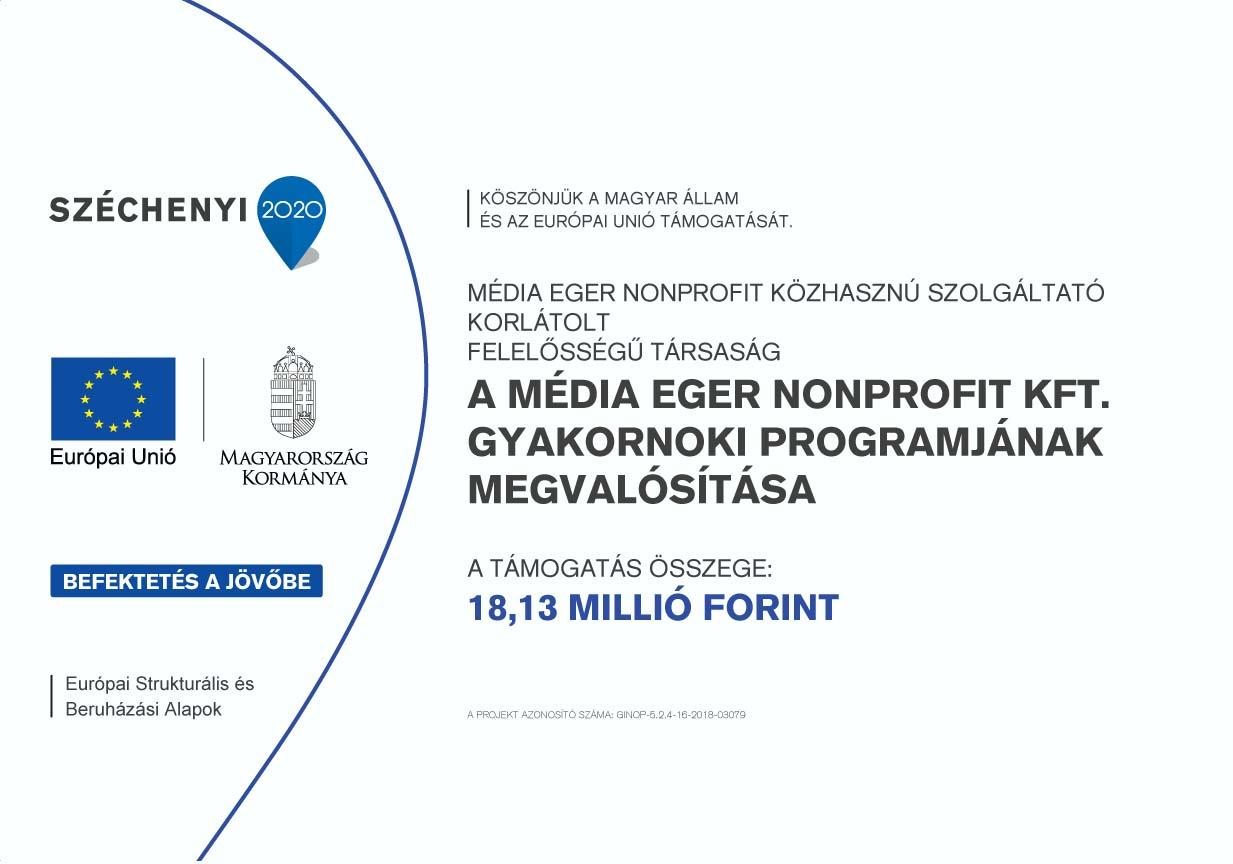 Média Eger Nonprofit Közhasznú Szolgáltató Kft. gyakornoki program megvalósítása